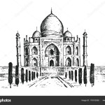Taj Mahal an ancient Palace in India. landmark or architecture, hindu Temple. Traditional mausoleum-mosque. engraved hand drawn in old sketch, vintage style. Agra on the bank of the river Yamuna.